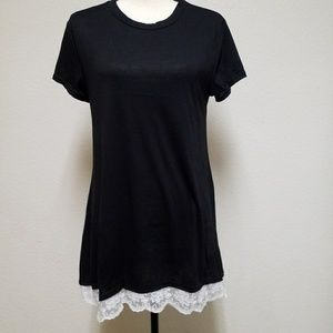Black T Shirt with Lace Size small